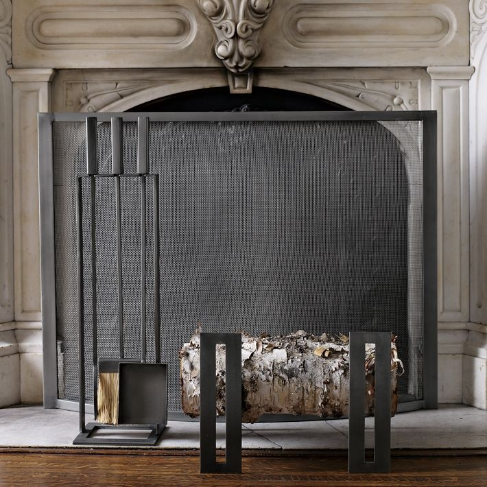 West Elm Fireplace screen and tool set