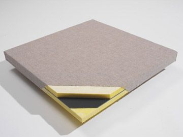 """FabricBloc panels are cloth wrapped sound panels that carry a sound barrier membrane lined in the middle of the panel.   This composite sound proofing panel combines to both """"block"""" sound transmission through a common wall, as well as """"absorb"""" the echoes returning back into the same room the noise is generated from."""