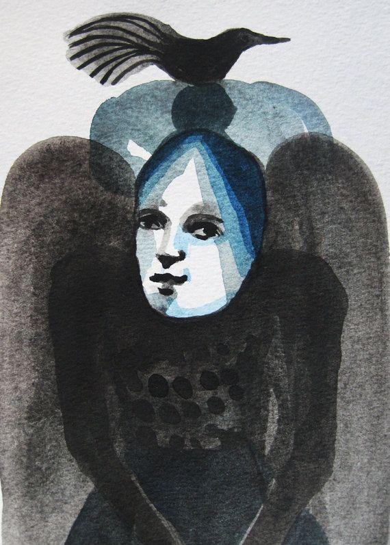 Watercolour woman with hair bird by METTEJOENSEN on Etsy, kr300.00