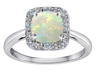 Stand out from the crowd with our Tommaso Design Classic Cushion Cut Designer Ring with Genuine Diamonds and Opal - 304720, with free shipping and a Free Lifetime Warranty