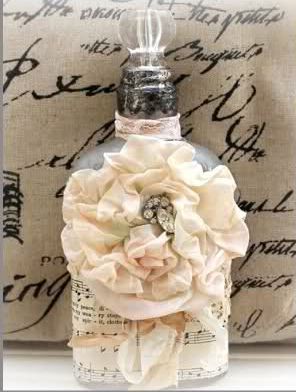 The words to a favorite song or poem could be printed on a pillow. The sheet music for a special wedding song could be used as art on an altered bottle. Great DIY!