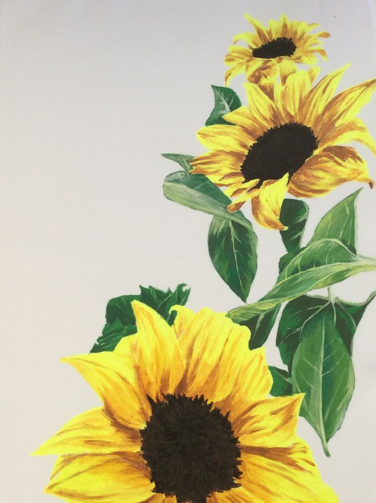 Hand painted sunflowers. These hand painted sunflowers could be painted onto your wedding gown, sash, bow or even your bridesmaid/flower girl bags. www.aylinwhitedesigns.com #flowers #bridalfashion, #bridal #handpainted
