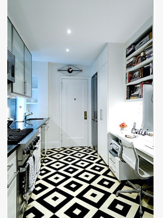 black and white tile floor kitchen. Cozinha P Diamond Pattern Black And White Tile Floor In A Small New York City Apartment Galley Kitchen. Awesome Kitchen E