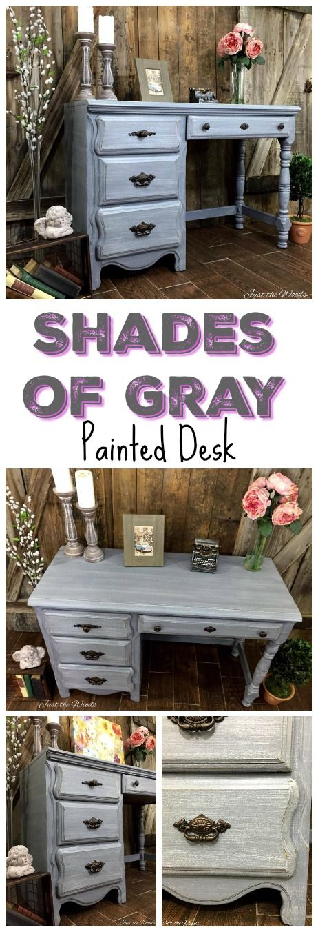 Vintage desk hand painted in layered shades of grays (scheduled via http://www.tailwindapp.com?utm_source=pinterest&utm_medium=twpin&utm_content=post103164629&utm_campaign=scheduler_attribution)