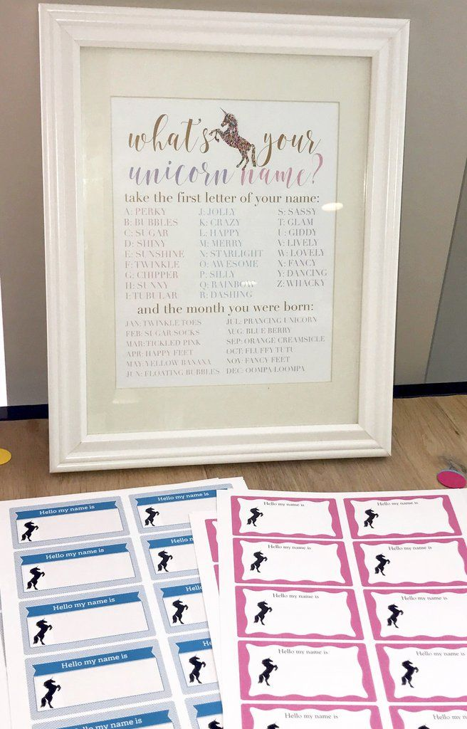 What's Your Unicorn Name Printable - Baby Shower Name Tags - Pretty Collected