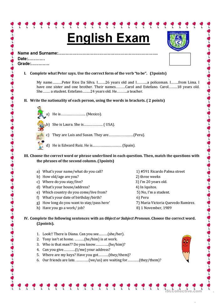 English test | Worksheets | English test, English grammar worksheets