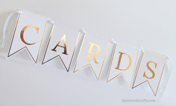 Rose gold foil CARDS bunting or banner for a wedding or special event.