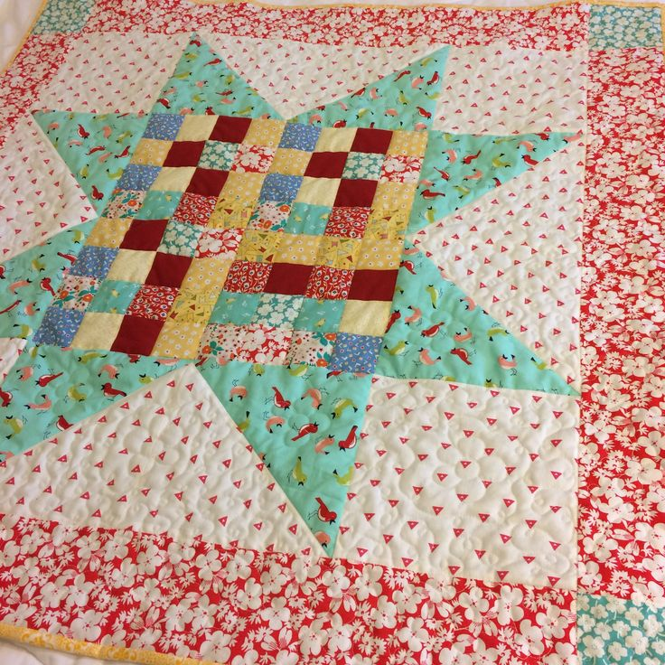"Postage Stamp Star Quilt//baby quilt//table topper//40"" square quilt//scrappy quilt//aqua quilt//red quilt//star quilt//feedsack quilt by OldGalsGarage on Etsy"