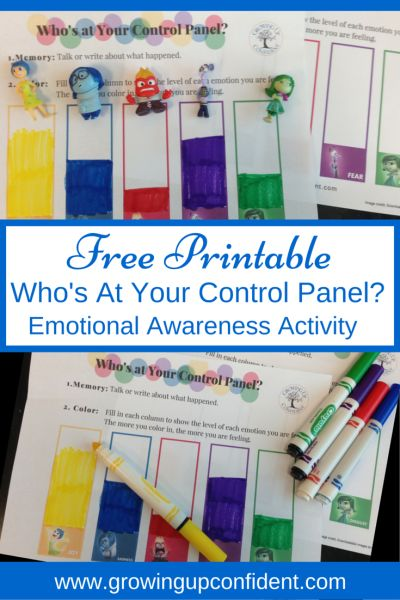 FREE PRINTABLE!  Who's at your control panel? An Emotional Awareness Activity for kids based on Disney/ Pixar's movie, Inside Out.