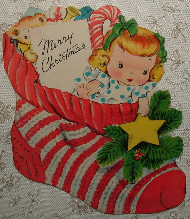 UNUSED - Doll & Toys in Christmas Stocking - 1940's Vintage Christmas Card