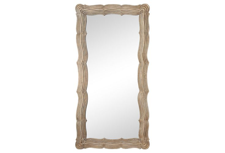 Anzio floor mirror silver leaf through the looking for Glass floor mirror