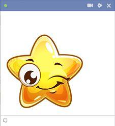 Winking Star Emoticon for Facebook