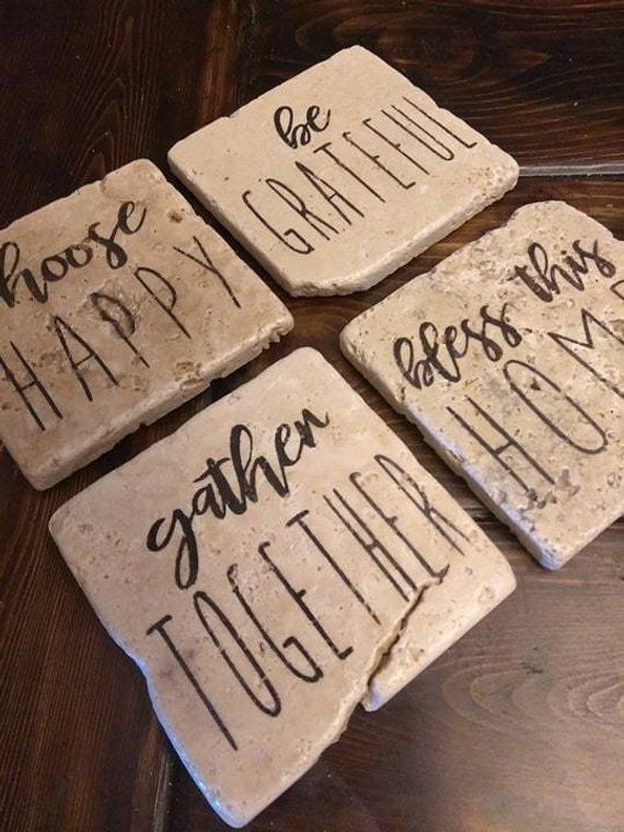 Set of 4 Absorbent Stone Drink Coasters with Funny Sayings 4 Unique Designs Natural White Travertine Perfect Gift for a Beer Lover