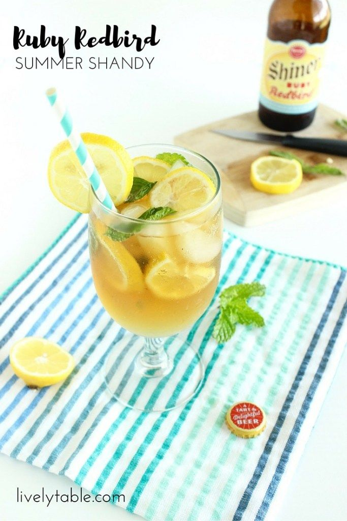 Ruby Redbird Summer Shandy | A refreshing summer beer cocktail with notes of citrus, ginger, and mint, and less than 100 calories! | Via Lively…