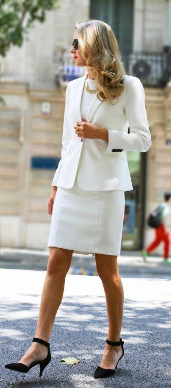 White Sheath Dress & Jacket // Black heels.