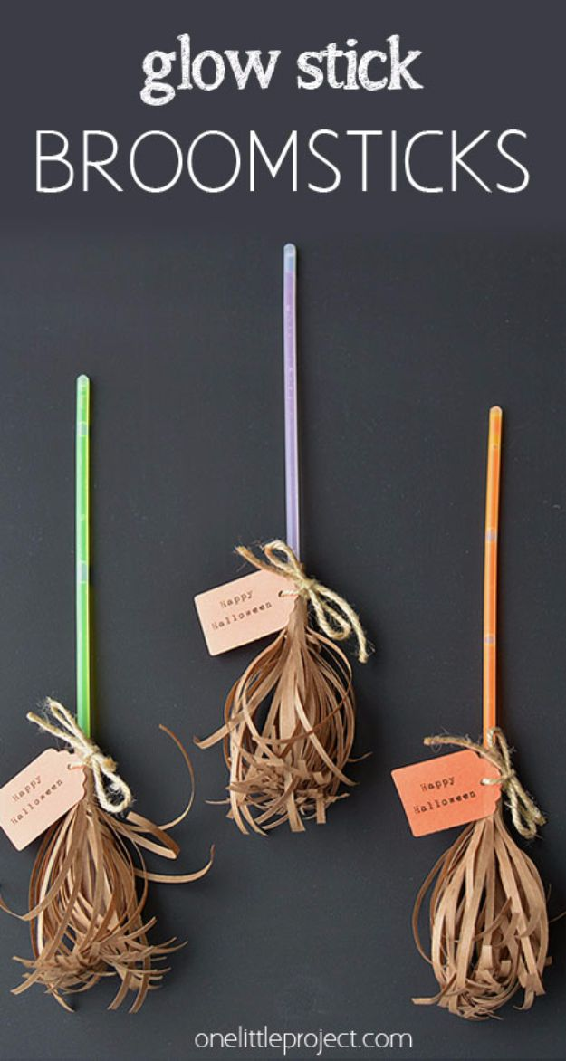 diy halloween decorations glow stick broomsticks best easy cheap and quick halloween decor - Quick Halloween Decorations