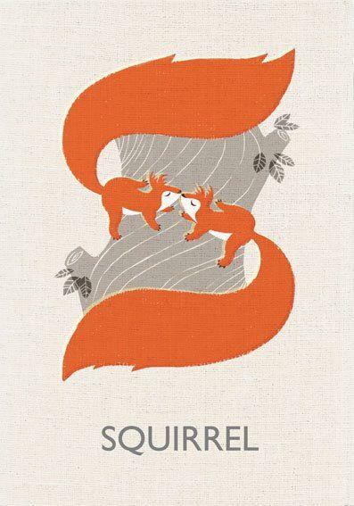 Marco Mirella, S is for squirrel, nature, autumn, colour, lettering, alphabet, design, print, nature, wildlife