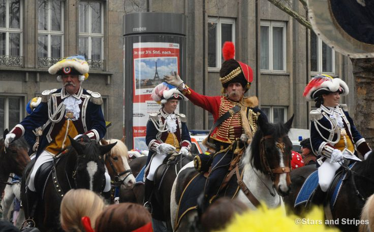 Parade participants on horses pass by in the Rosenmontag parade Monday, March 3, 2014, at Mainz, Germany. (Gregory Broome/Stars and Stripes) #Germany #history #parade