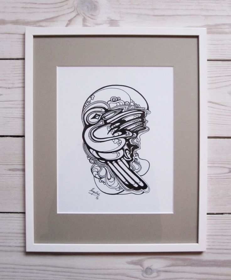 """""""Sparrow"""" by hurupmunch  Printed illustration on akvarel paper A4: Dkk 150,-  Printed illustration in passepartout and painted wood frame: Dkk 350,-"""