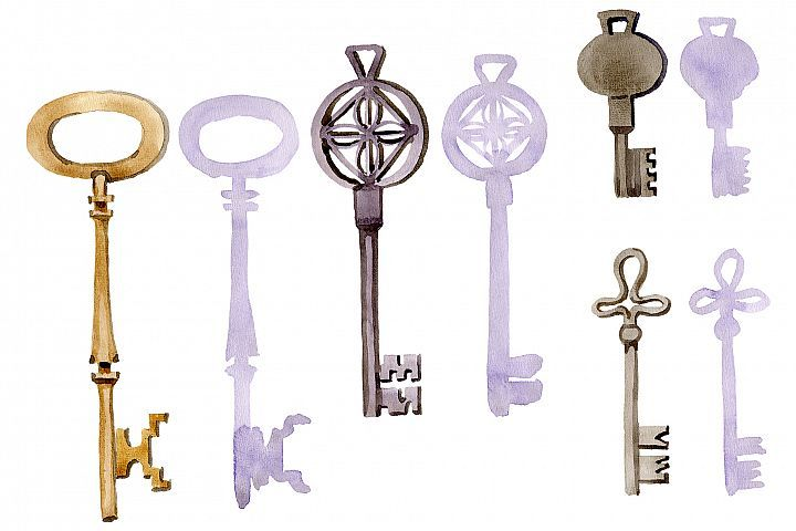 Vintage Key Magic Watercolor Png 273730 Illustrations Design Bundles Illustration Design Vintage Graphics Silhouette Diy Projects