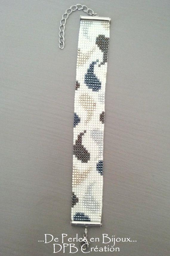 Bracelet tissé main perles delicas Miyuki blanc gris argenté