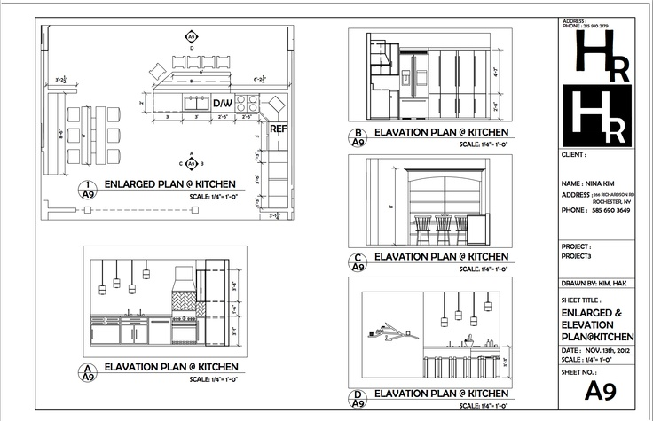 Elevation Floor Plan Autocad : Kitchen enlarged and elevation plan portfolio autocad