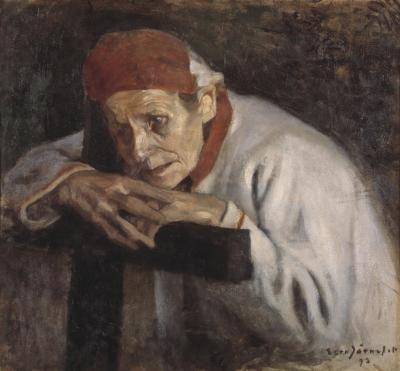 Larin Paraske 1893, EERO JÄRNEFELT - Innoitusta etsiville karelianistisille taiteilijoille tarjoutui mahdoll.tavata aito runonlaulaja.Paraskesta muodost.kaikkien karjalaisten runonlaulajien ja itkijänaisten symboli.V.1891 Paraske esiintyi Suomal.Kirjallisuuden Seuran vuosikokouks.Hgissä.V.1891 Kullervo-sinfoniaansa valmisteleva Jean Sibelius vieraili Porvoossa Paraskea kuulemassa.V.1893 Albert Edelfelt ja Eero Järnefelt maalasivat hänestä muotokuvia.