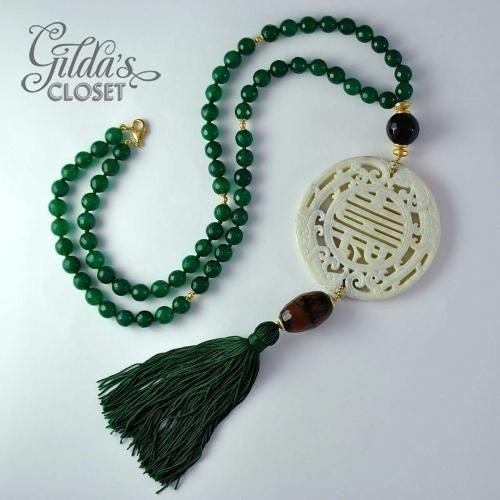 """Collar con jade """"Cisnes Salvajes"""" - Alta Bisutería - Gilda's Closet"""