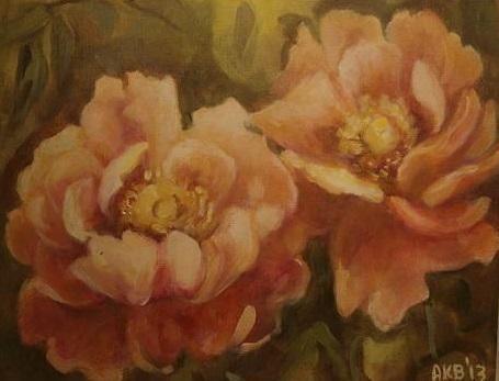peony (Painting) przez ANNA  BARDZKA