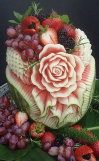 Watermelon rose fruit carving: Fruit Flower, Fruit Carvings, Southern California, Watermelon Carvings, Food Carvings, Fruit Art, Fruit Display, Food Art, Watermelon Rose