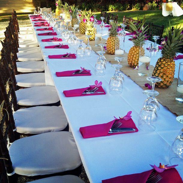 Pineapples + Hot Pink // Maui, Hawaii // Aloha Events Catering