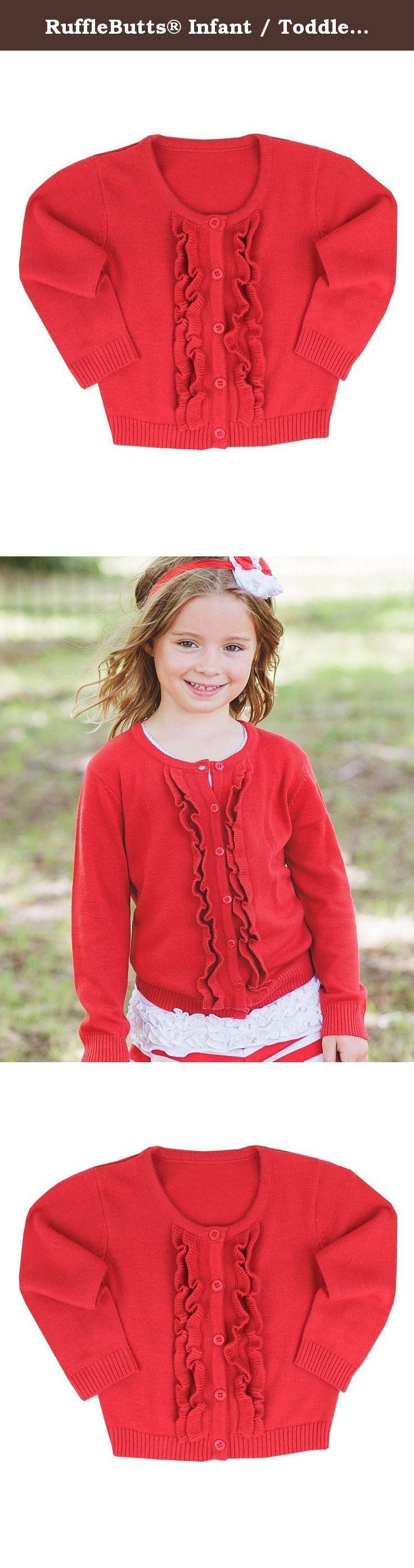 RuffleButts® Infant / Toddler Girls Ruffled Long Sleeve Cardigan - Red - 6-12m. The perfect addition to any outfit, this Cardigan is one she will love. With an ultra comfy fit, this a piece she will stay cuddly in all day long.