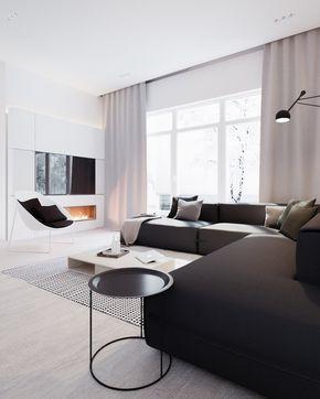 Salotto moderno minimal stile scandinavo in colori bianco e nero con tv e camino