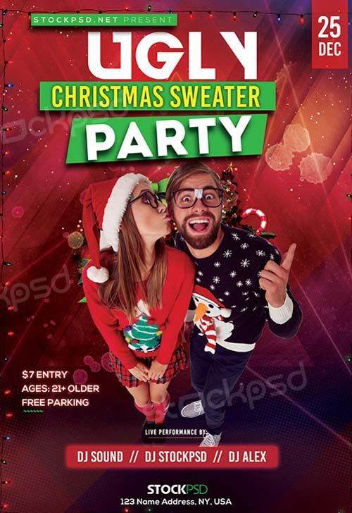Ugly Christmas Sweater Free Party Flyer Template - http://freepsdflyer.com/ugly-christmas-sweater-free-party-flyer-template/ Enjoy downloading the Ugly Christmas Sweater Free Party Flyer Template created by Stockpsd!   #Christmas, #Club, #Dance, #Dj, #Event, #Minimal, #Night, #Party, #Urban, #White, #Winter, #Xmas