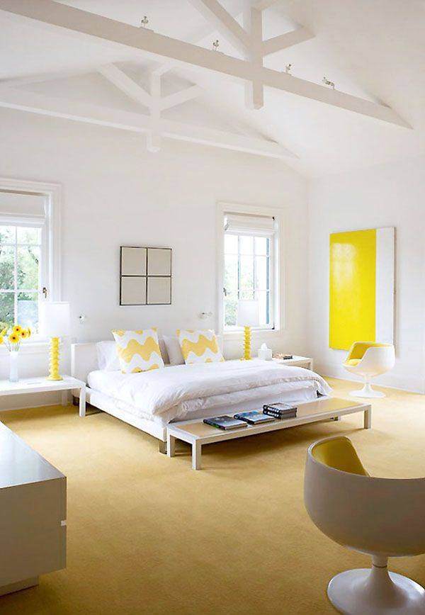 Yellow Accent Wall Bedroom