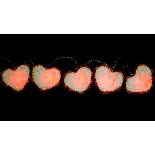 Crochet LED garland for Valentine's day.