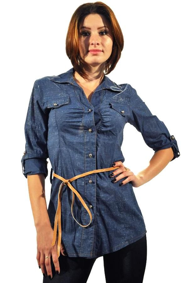 Camasa Dama Blue Lagoon  -Camasa dama casual  -Model cambrat ce evidentiaza talia si te scoate din anonimat  -Detaliu maneca ajustabila, se incheie cu nasturi  -Cureaua nu este inclusa     Lungime: 64cm  Latime talie: 35cm  Compozitie: 95%Bumbac, 5%Elasten