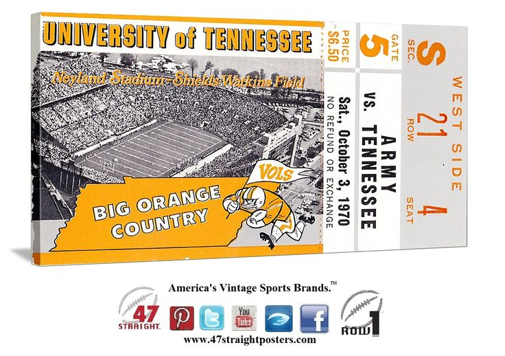 1970 Army vs. Tennessee Vols football ticket art on canvas. #47straight #Tennessee #Vols #collegefootball  https://twitter.com/47_Straight Come join 2,500 others and follow us on Twitter!