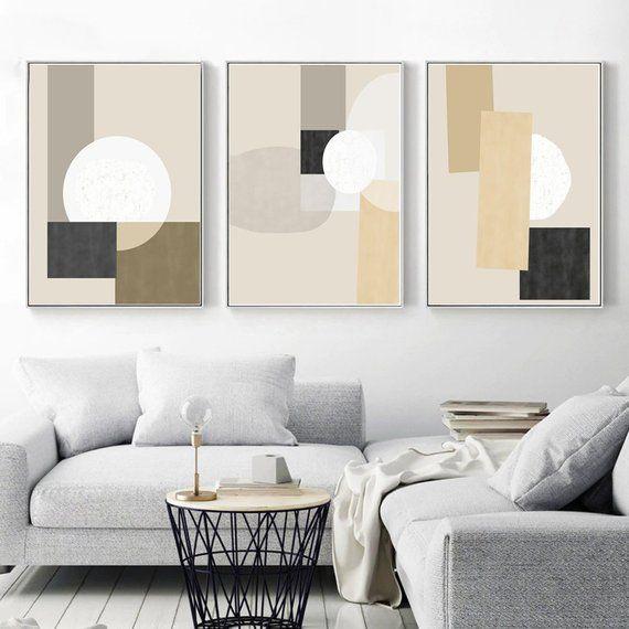 Geometric Wall Art Set Of Three Prints Ochre Art Geometric Etsy In 2020 Geometric Wall Art Modern Geometric Art Wall Art Sets