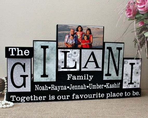 Custom Family Name Blocks, Gifts for Home, Family Name Decor with Picture, Housewarming Gift, Family Christmas Gift, 6 Letters Name Sign