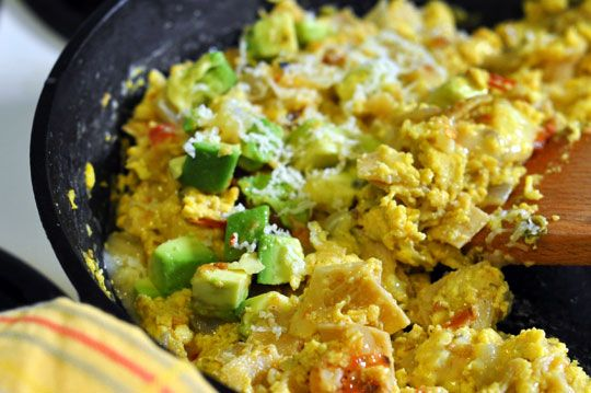 Migas. I Made These For Breakfast.  I Used 1 Month Old Crumbled Up Tortilla Chips Instead Of Corn Tortillas.  Threw In Some Green Salsa, Cut Up Rotisserie Chicken, And Avocado At The End. Party In My Mouth Good!