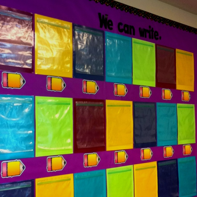 Writing wall: use 1 gallon bags to display students' writing throughout the year. Stays in chronological order to show student progress and easy to take off of the wall at the end of the year. Student takes it home as-is. Most convenient writing wall I've used.