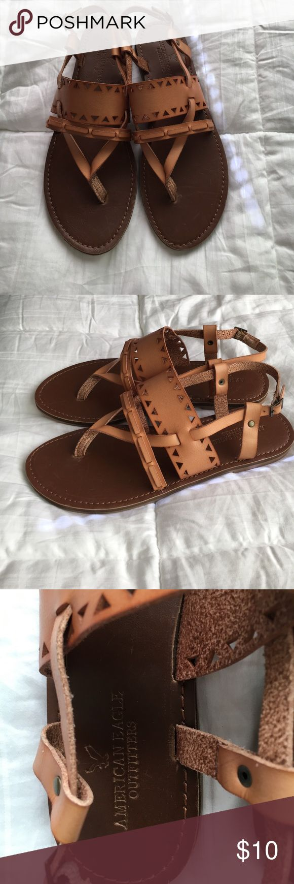 American eagle sandals NEVER WORN. Super cute sandals from American Eagle Outfitters. Leather American Eagle Outfitters Shoes Sandals