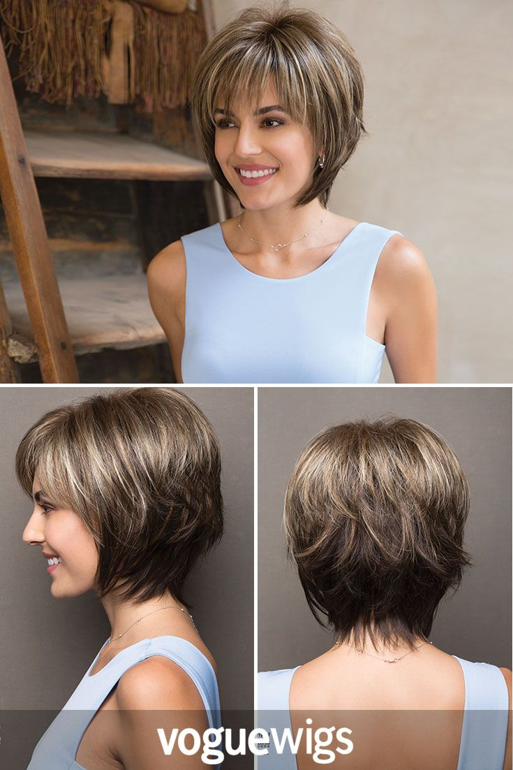 This short wig looks super realistic thanks to the perfect cut and rooted brown colors.