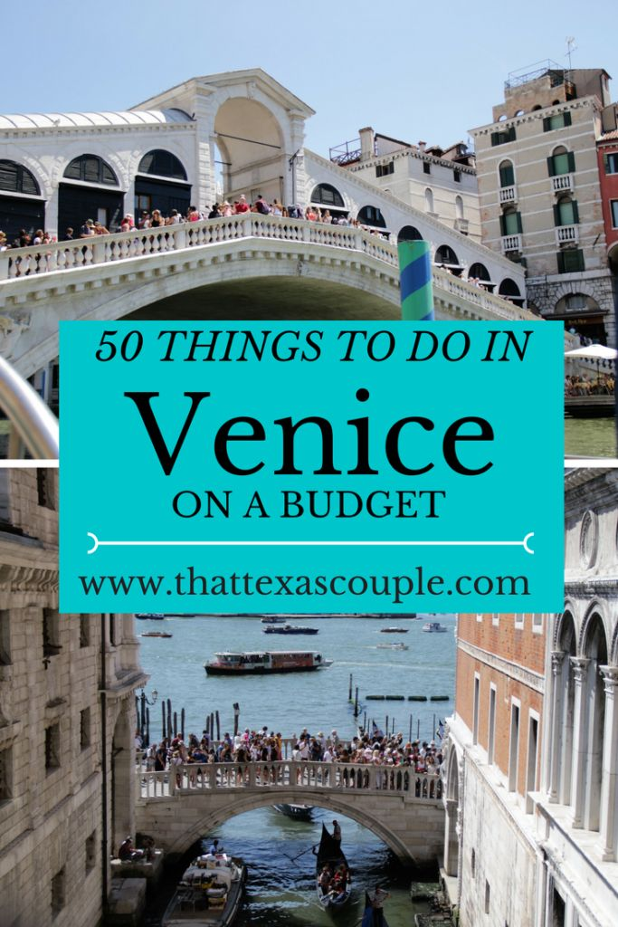 Trying to plan a trip to Venice without breaking the bank?  Then you need this list of 50 Things to do in Venice on a Budget!  You won't miss out on the great sights, and you will save money!  #Venice #Budgettravel #BudgetVenice #ThingstodoinVenice #veniceitaly