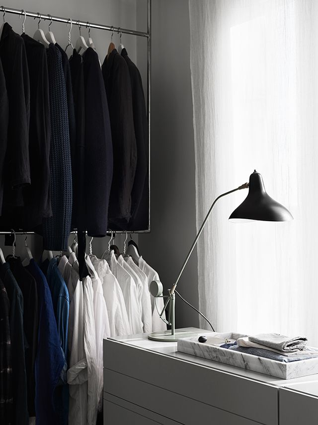 Amazing Custom made wardrobe stand Lampe Mantis and marble tray from Hay