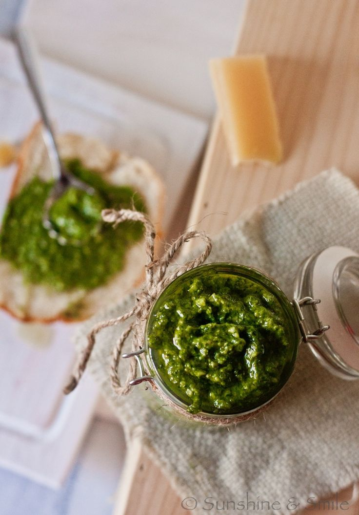 spinach pesto with garlic/this is a good alternative to basil pesto. Especially in the winter months when basil is not abundant.