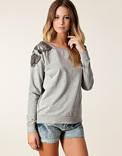 Soulder Sweat Top - River Island - Grå melange - Gensere - Klær - NELLY.COM