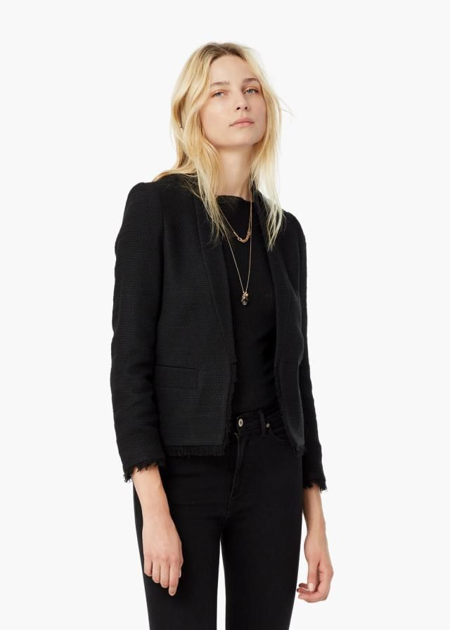10 Casual Friday Outfits Your Boss Will Love: Black Textured Blazer and Black Jeans
