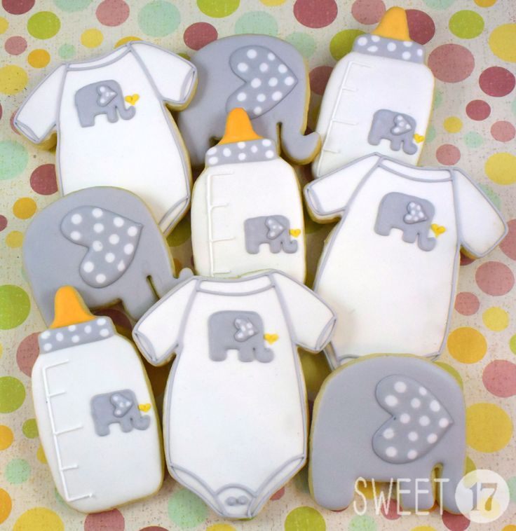 baby elephant ears gender reveal cookies and baby boy cookies